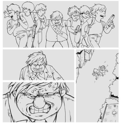 notamyliu:  A preview of some of my Bartkira progress! Some panels from vol 3, pg 171. Quimby is not happy.