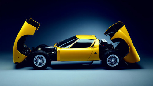 Prettiest car ever made, the Lamborghini Miura. No contest. Via Jalopnik. Also check out Damon Lavrinc's piece on a half-century of Lamborghini at Wired.