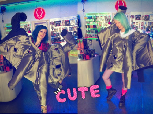 Me and Ellie having way too much fun with a bunch of coats at work… XD OCTOCOAT!