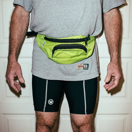 My dad' Sunday morning attire. #fannypack #lycra #neon #biking #shorts