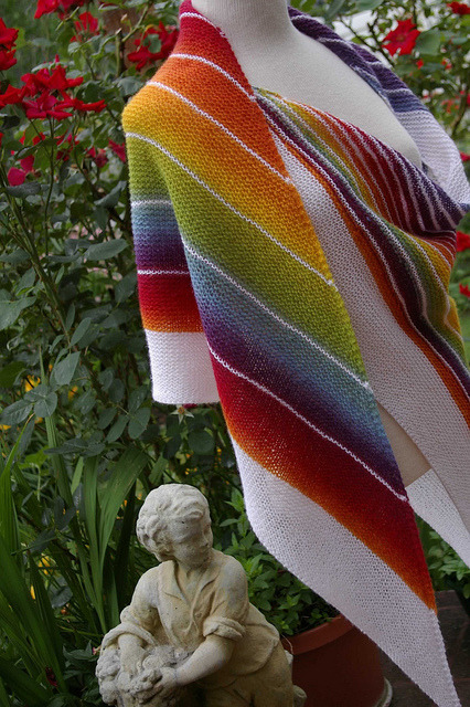 dudesthatknit:  Knit Inspiration: Strip Study Shawl Perfect for spring and summer!