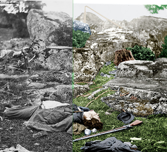 The Civil War, Now in Living Color The photographs taken by masters such as Mathew Brady and Alexander Gardner have done much for the public's perception of the Civil War. But all of their work is in black and white. The battlefield of Gettysburg is remembered as a shade of grey and the soldiers as ghostly dauerreotype images. Photography was in its infancy during the time and colorizing photographs was rare and often lacked the detail of modern imagery. John C. Guntzelman is changing that; he's created an accurate colorized portrayal of the Civil War. In The Civil War in Color: A Photographic Reenactment of the War Between the States, Guntzelman tediously colorized hundreds of photos covering every aspect of the war. - Continue reading at Smithsonian.com. MORE PHOTOS »