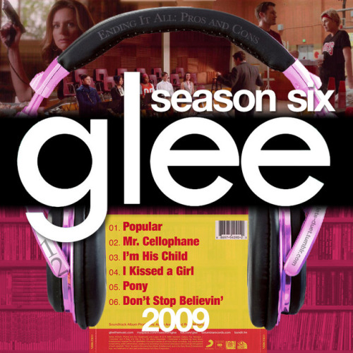 "A Glee album cover (with Season 6 headphones) for Episode 6x12: ""2009"" in my Bookshelf Backdrop style."