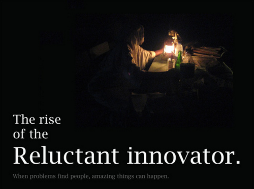 "Documenting the ""Rise of the Reluctant Innovator"" by Ken Banks (PopTech 2012)  This publication will fill a much-needed gap in the social innovation/social entrepreneurship market, one which is currently dominated by books which - often at no fault of their own - give the impression that meaningful change is only possible if you're an MBA, or a geek, or have money or influence, or a carefully laid out five-year master plan, or all five. By highlighting the stories of ten ordinary yet remarkable individuals, and the impact their work is collectively having on hundreds of millions of people around the world, ""Rise of the Reluctant Innovator"" will show us that anything is possible, planning isn't everything, and that anyone anywhere can change their world for the better."