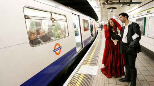 Commuters had an enchanting start to their day today when they were caught unawares by fairy tale characters on the London Underground. Spreading a little fairy tale magic to gruff Londoners and delighted tourists, Red Riding Hood and Prince Charming took to the tube this morning rather than their usual enchanted surroundings. The characters, played in Channel 5's Once Upon a Time by Meghan Ory and Josh Dallas, were here to celebrate the ABC Studios fantasy drama series coming back to our screens this Sunday at 9pm.    (Check out the rest of the pictures on Channel 5's website)