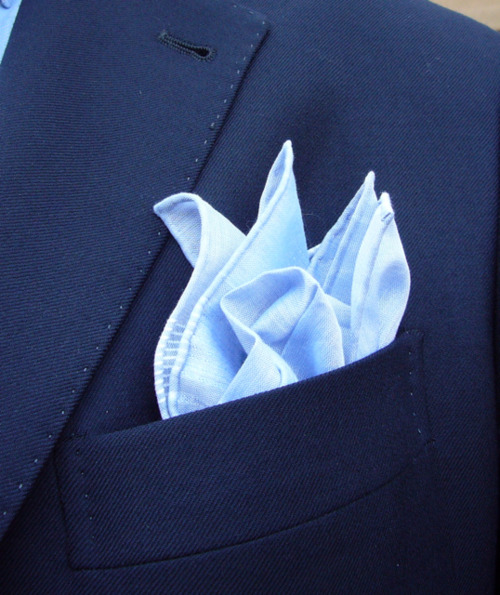 Blue on blue….. 100% cotton pocket square by French manufacturer Simonnot Godard http://www.simonnot-godard.com/1.aspx