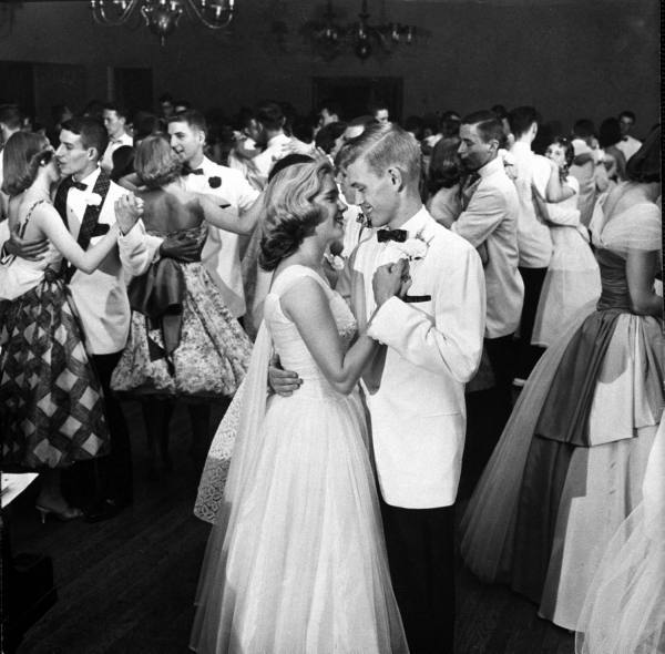 Teens, 1958 Teenage students dancing at the Mariemont High School Prom.