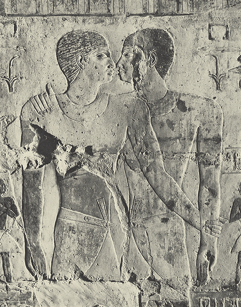 """ohthentic:  www-paganmensocialgo-com:  keepcalmandmasturbatetomyarchive: Khnumhotep and Niankhkhnum were ancient royal servants who shared the title """"Overseer of the Manicurists in the Palace of King Niuserre."""" The two men are depicted on their joint tomb in one of the most intimate poses allowed by Egyptian artistic conventions: face to face, with their noses touching. Niankhkhnum means """"joined to life"""" and Khnumhotep means """"joined to the blessed state of the dead;"""" together their names mean """"joined in life and death."""" They are believed by some archeologists to be the first same-sex couple in recorded history. The picture shows a detail from their tomb dating to around 2350 BC.   quite queer"""