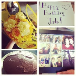 A home made card, home made chocolate cake,flowers, and a picture collage of everyone I love framed, best freaking birthday ever. I love you all so much. #happyBirthdayToMe #whoot #happy #ahh #love #friends #bestfriends #flowers #cake #awesome #TheBest #yay #cute