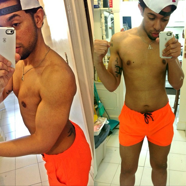 Getting the gear and body tight for Florida at end of May. #neon #orange #fitted #trunks #shorts #chest #pecs #arms # nipples #legs #sexy #cute #dominican #jamaican #abs #beard #handsome #tattoo #tribal #ass #butt