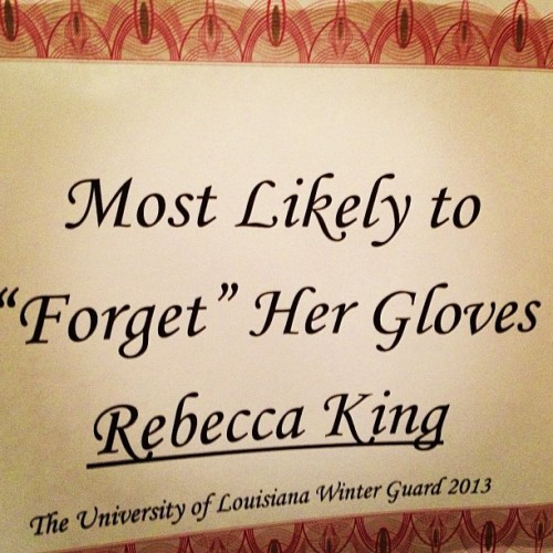 The gloves are off. ;) #colorguard #ulcolorguard #ull #nogloves #proud #gloves #aiyee #award #yeeeaaa