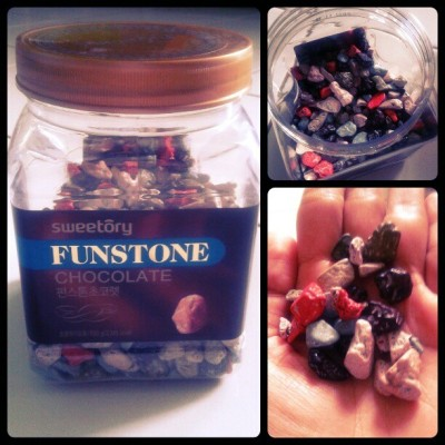 Ini batu bisa dimakan n manis made in by korea wkwkwk #funstone #sweet #chocolate #stone #korea #colorfull #unique