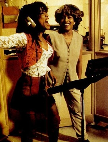 "siergio:  Tina Turner and Angela Bassett on the set of ""what's love got to do with it"" …. The greatest."