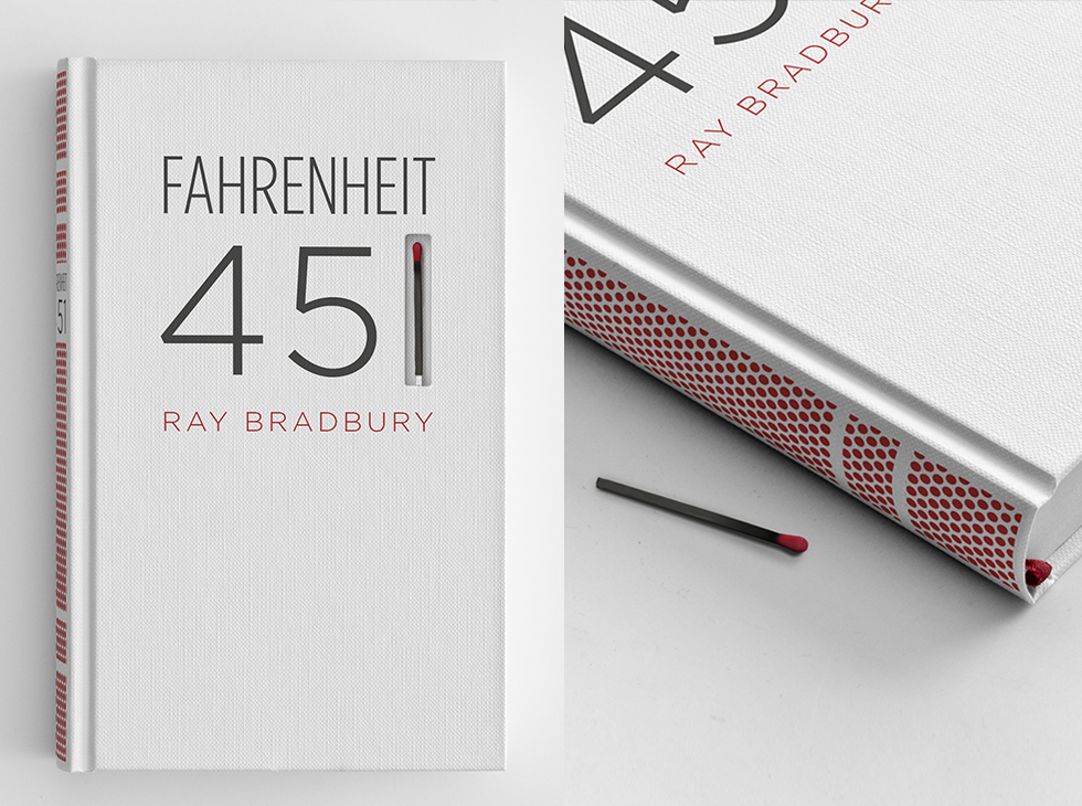 """The book's spine is screen-printed with a matchbook striking paper surface, so the book itself can be burned.""   http://eliperez.com/portfolio/fahrenheit-451/"