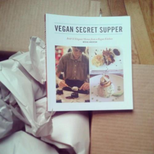 Look what just came in the MAIL!!!!  VSS has a cook book!  Long awaited, and long in the making (maybe even 8 years!) has arrived on Arsenal Pulp Press!  It should be in the Chapters and things in a week or so in Canada, and everywhere else in April!  OR from me if I see you in NY for the APRIL Vegan Shop Up!  or at one of the launches in NY Montreal, Toronto and Vancouver this Spring!  Come and I'll make you a snack! Love, ChefM