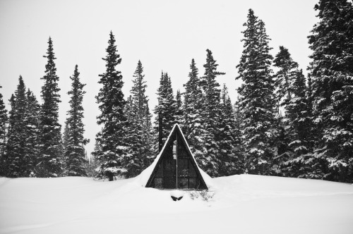 cabinporn:  A-frame near Pearl Pass Basin, Colorado. Submitted by Jake Marty.
