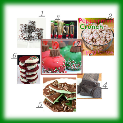 'Tis the season for baking and eating! Here are some fun ideas for delicious holiday treats. Put them out for a party or wrap in a festive box for a homemade gift. And don't forget to keep a few for yourself.  1 Peppermint Crinkles 2 Merry Champagne 3 Peppermint Crunch 4 Oreo Coal 5 Grasshopper Mint Chocolate Bark 6 Red Velvet Holiday Cookies 7 Ornament Cake Balls