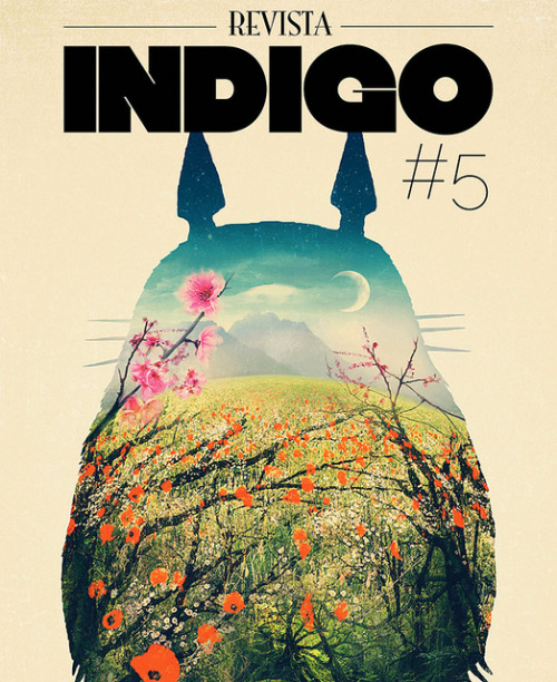 "The amazing guys at Revista Indigo just launched issue #5 of their excellent art magazine. There is an article about my work on it, so flattered to be featured along with so many great artist on it. Also, my ""Tonari No Totoro"" design is being featured on the cover, how cool is that! Thank you guys, keep up the great work! indigorevista.com/"