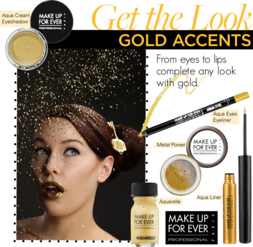 Get the Look: Gold Accents by makeupforever featuring make up for everMake Up For Ever  / Make Up For Ever waterproof eyeliner / Make Up For Ever  / Make Up For Ever waterproof makeup / Make Up For Ever beauty product