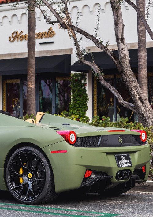 legit-it-seems:   Mᴀᴛᴛᴇ Mɪʟɪᴛᴀʀʏ Gʀᴇᴇɴ 458 // Eғғsᴘᴏᴛs  The sexiest Ferrari I have ever seen. Ever.