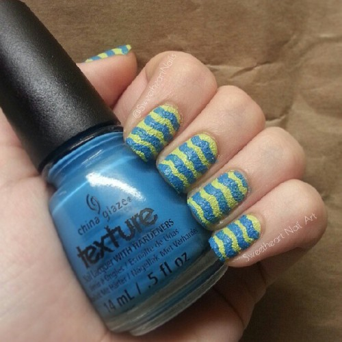 China Glaze - Of Coarse! & In the Rough ★ Wavy Stripe Nail Art