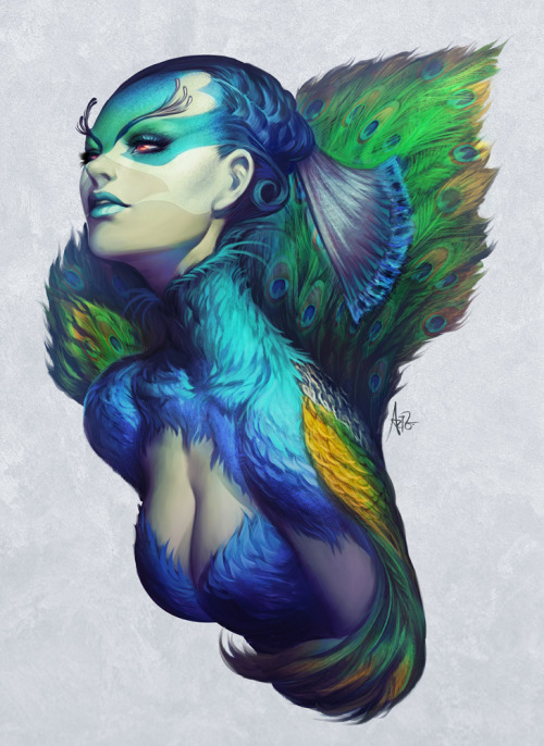 artforadults:  peacock queen by stanley lau aka artgerm