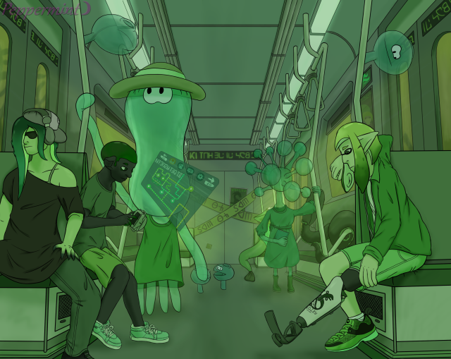 Artwork of the inside of a metro train car.  In the front, Dedfish is seated next to another octoling and across from an inkling. In the background are a variety of humanized deepsea creatures.