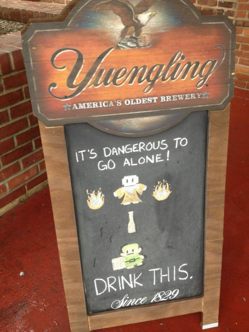 copiouslygeeky:  Yuengling? More like Yeung-Link! Taken by UnaVidaNas