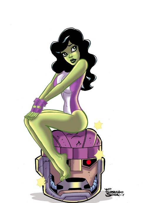 thehappysorceress:  Pin-Up She-Hulk by Fernando Sosa