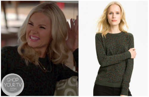 Alex Kerkovich (Elisha Cuthbert) wears this brown grey leopard print sweater in this week's episode of Happy Endings.  It is the Gryphon Leopard Print Crewneck Sweater.  Buy it HERE