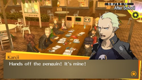 More Kanji awesomeness. Pretty sure Rise was trying to take his penguin animal cracker here. Hehe. <3