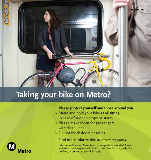 Metro posters appeal to bicyclist etiquette.