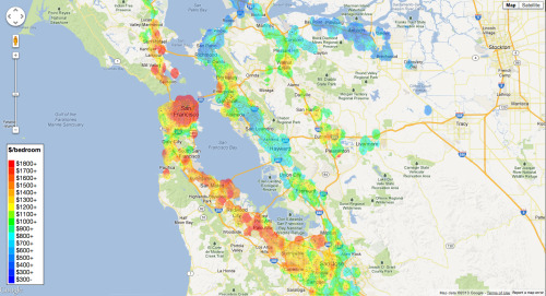 Rent is too damn high, San Francisco edition – fantastic new tool by Jeff Kaufman renders heatmaps of rent prices in several cities. Kurt Vonnegut had some thoughts on that. (↬ Chart Porn)