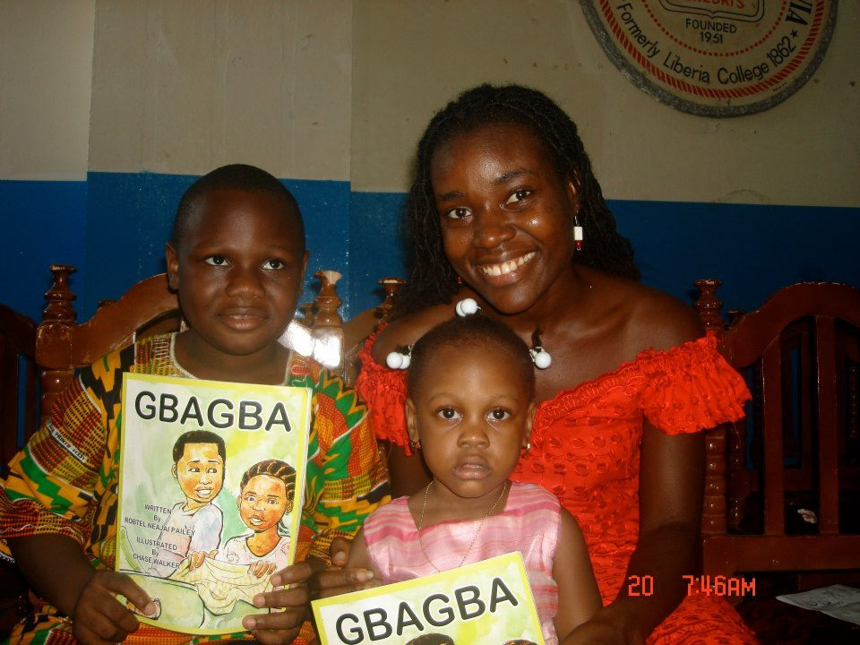 OMB in Liberia: Signature Series author of Gbagba, Robtel Pailey, with her niece and nephew at the Monrovia release of her book.