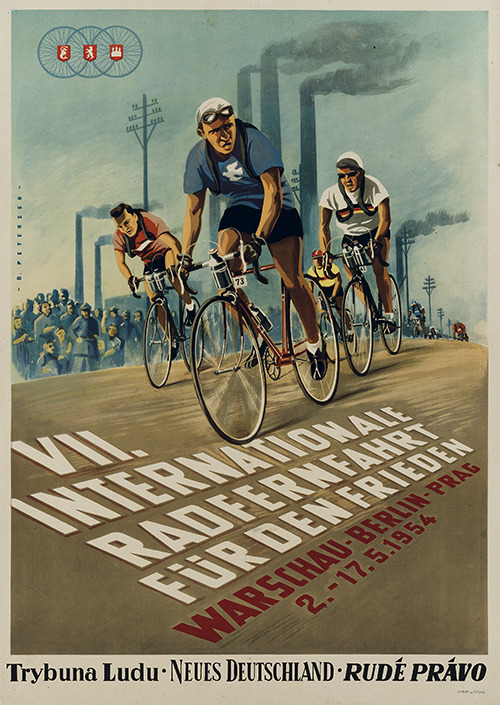 cadenced:  Peace Race poster from 1954 found on plakatkontor's website. You can find more Peace Race posters here which provide some stunning examples of post war graphic design.