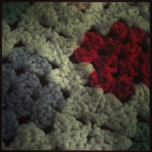 #grandma #dorothy 's #handmade #afgan #blankets me with #warm #patterns and #colors (at home sweet home!)