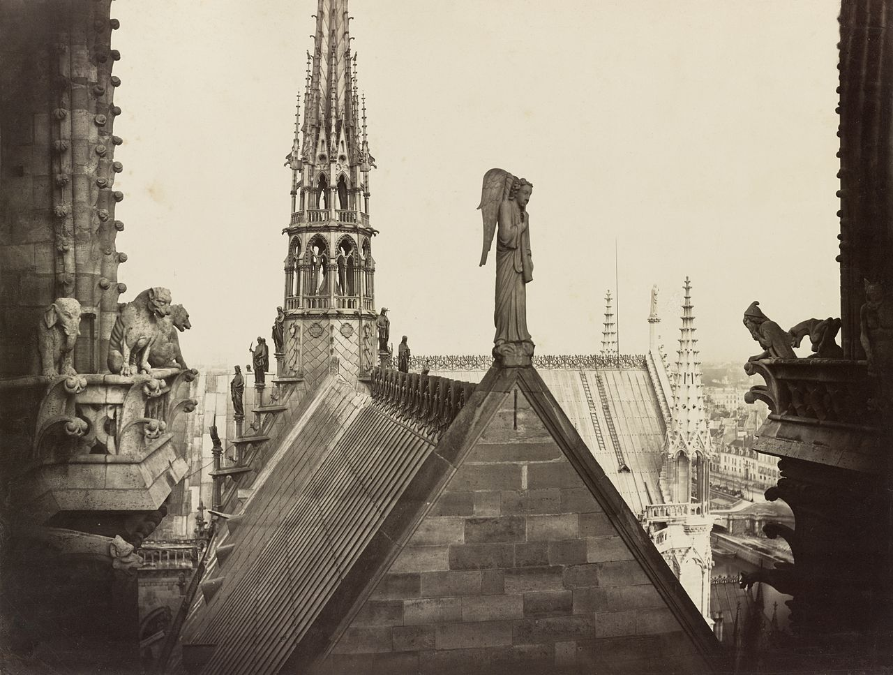 View onto the roof of Notre Dame in the 1860's, Paris