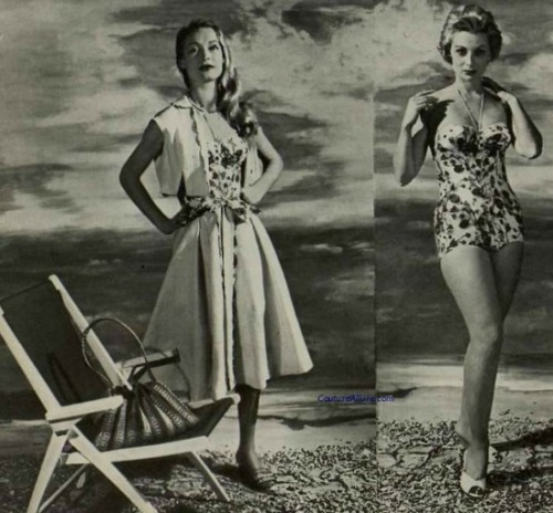 theniftyfifties:  Model demonstrating beach wear, 1956.
