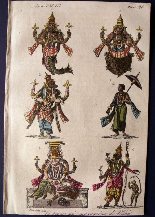 ffactory:  The first six avatars of Vishnu, depicted by Giulio Ferrario, in Il costume antico e moderno, Florence, 1824