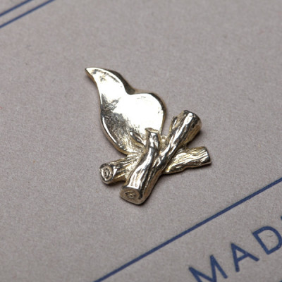 Campfire Lapel Pin by Best Made Co. The sterling silver pin resulted from collaborating with a jewelry artist in Atlanta.