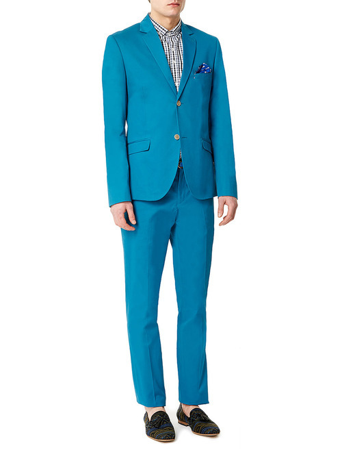 Teal Cotton Skinny Suit