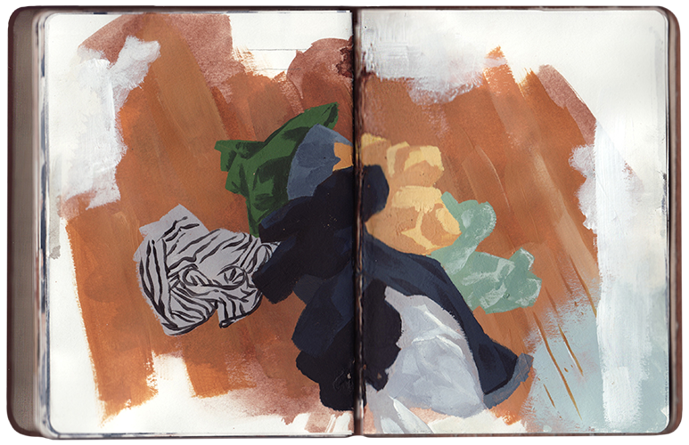 "The Sketchbook Project: Winter Studies This selection of pages is from a project entitled Winter Studies: Some Self-Portraits, which was completed in January 2013. I constructed and hand-stitched a small, leather-bound sketchbook during the winter of 2012. Over a month or so I cataloged my ""likeness"" in a series of self-portraits (to varying degrees of radical interpretation). The book is a short record of daily habitual occurrences that, over time, may construct one's self-image—at least in part. It acknowledges the occupation of winter and it's seasonal affect on behavior and the overall tone of daily life. The sketchbook will join a nation-wide tour in 2013 before returning to its permanent home at the Brooklyn Art Library in New York. The book's library call number is 194.83-2."