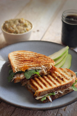 fattributes:  Easy Turkey Paninis with Bacon, Arugula, and Caramelized Onions