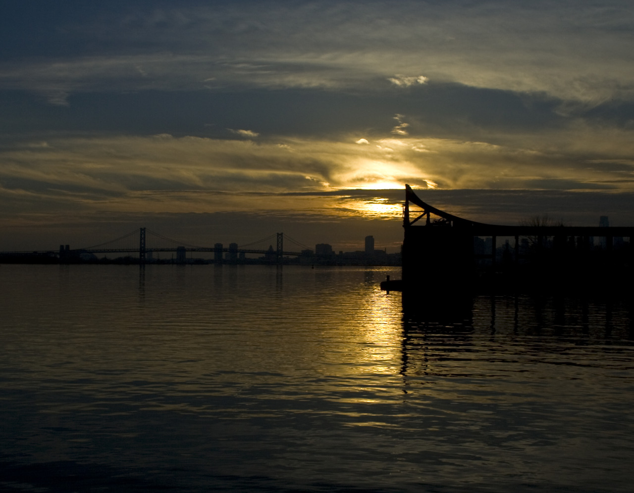 Sunset at the coal pier in Philly.