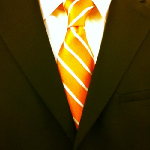 Orange #tie, black suit. #officeattire