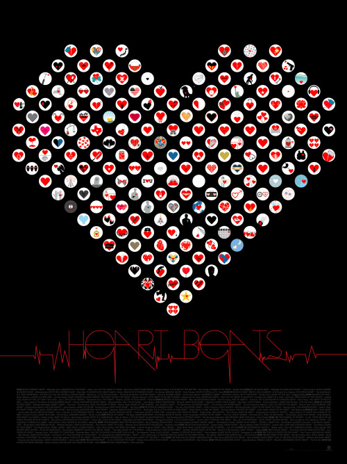 "Happy Valentine's Day from all of us at Pop Chart Lab! [Pictured: Heartbeats, a distillation of nearly 200 heart-based songs from popular music—from ""Hungry Heart"" to ""I Think I Need a New Heart"" to ""Heart of Gold"" to ""Kickstart My Heart""—all rendered as individual cardiac icons.]"