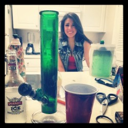Pre gaming. @feliciameowss @dooganswag @bronson_vs_drjones #bongs #gravitybong #smirnoffice #vodka #marijuanababes #marijuana #party #drinkdrankdrunk #calilife #partylife #weedandwomen #weedstagram420 #sexy #420 #love #friends #goodtimes