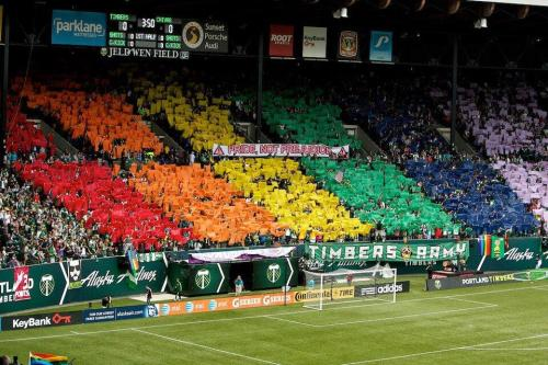 think-progress:  A message from the fans of Major League Soccer's Portland Timbers.  My home town!
