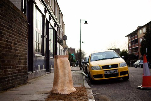 A rather spontaneous idea of creating a public sculpture out of a tree trunk in Islington, London. A carving that will unfortunately be cut down by the council on Feb 4th 2013.