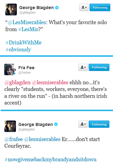 thisgreyweather:  One of my favorite George and Fra conversations. From September 12, 2012. You guys would reference your lines that were cut…